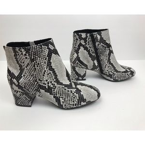 Shoes - Snake Print Heeled Booties